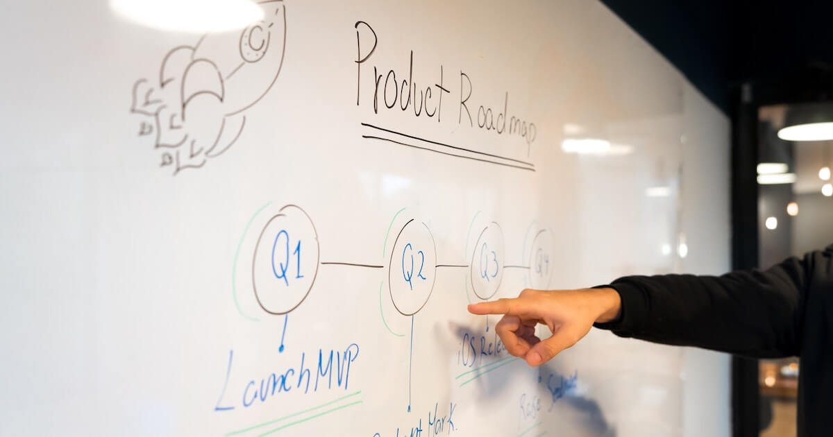 Product roadmap including MVP on a whiteboard
