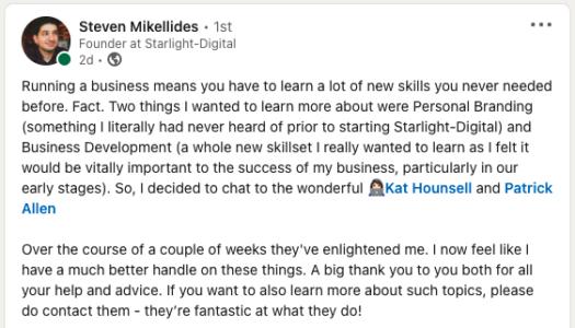 Katch 20% Club client testimonial from LinkedIn